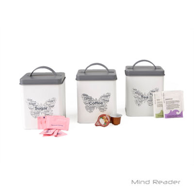 Mind Reader 3 Piece Sugar,Tea,Coffee Metal Canister Set, White