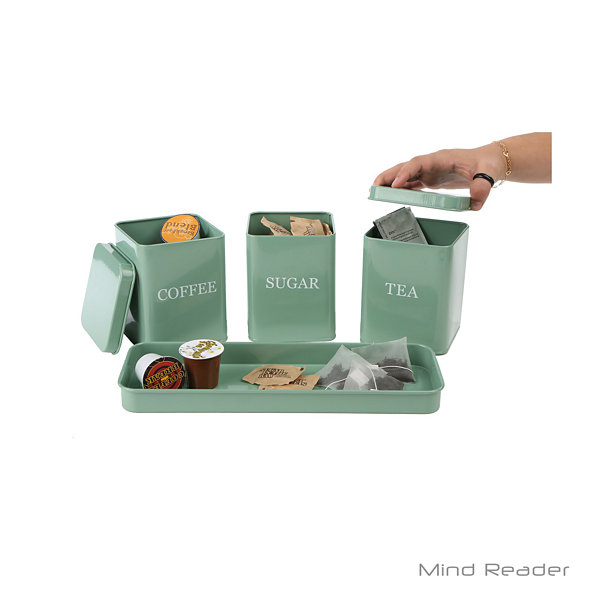 Mind Reader 4 Piece Canister Set with Tray, Blue