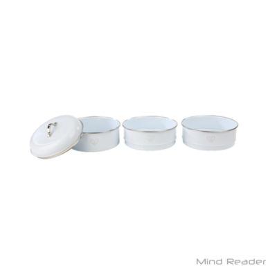 Mind Reader 3 Piece Stackable Canister Set, White