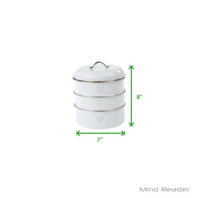 Mind Reader 3 Piece Stackable Canister Set, White