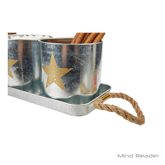 Mind Reader 4 Piece Metal Canister Set With Tray Silver