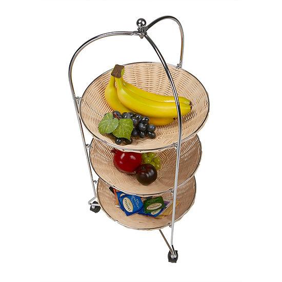 Mind Reader 3 Tier Round Straw Baskets with Metal Frame Rolling Cart, Brown