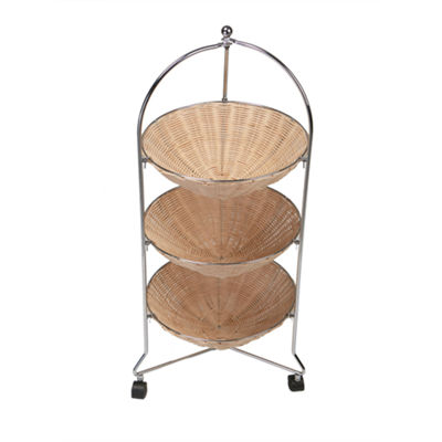 Mind Reader 3 Tier Round Straw Baskets with Metal Frame Rolling Cart, Brown