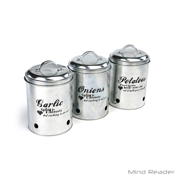 Mind Reader 3 Piece Garlic, Onion, Potatoes Metal Canister Set, Silver