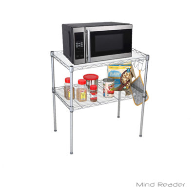 Mind Reader 2 Tier Microwave Shelf and Rack with 6 Hooks, Silver