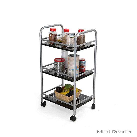 Mind Reader 3 Tier Metal Top Kichen Trolley, Silver
