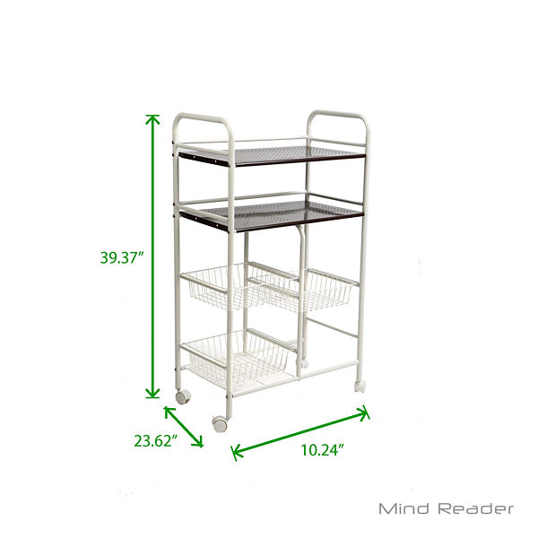 Mind Reader Portable Metal Storage Kitchen Trolley, White