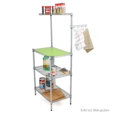 Mind Reader 3 Tier Microwave Shelf Counter Unit with Hooks, Silver
