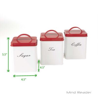 Mind Reader 3 Piece Sugar, Tea, Coffee Metal Canister Set - White