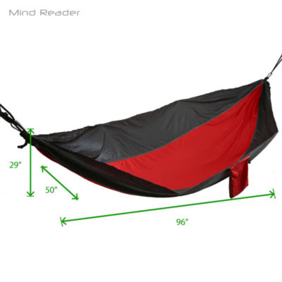 Mind Reader 8 ft. Nylon Hammock with Ropes, Red