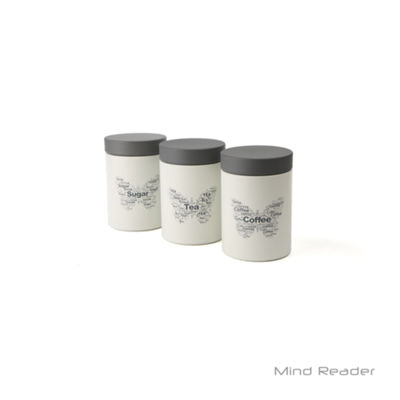 Mind Reader 3 Piece Sugar, Tea, Coffee Metal Canister Set - White