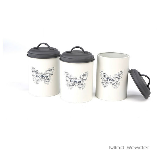 Mind Reader 3 Piece Sugar, Tea, Coffee Metal Canister Set, White