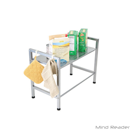 Mind Reader Metal Top Microwave Shelf Counter Unit With 2 Hooks Silver