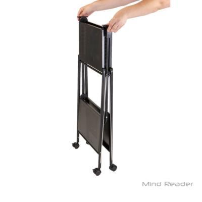 Mind Reader 2 Tier Metal Foldable Cart-Black