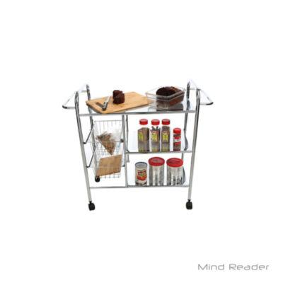 Mind Reader 3 Tier Metal Cart with 2 Wire Baskets