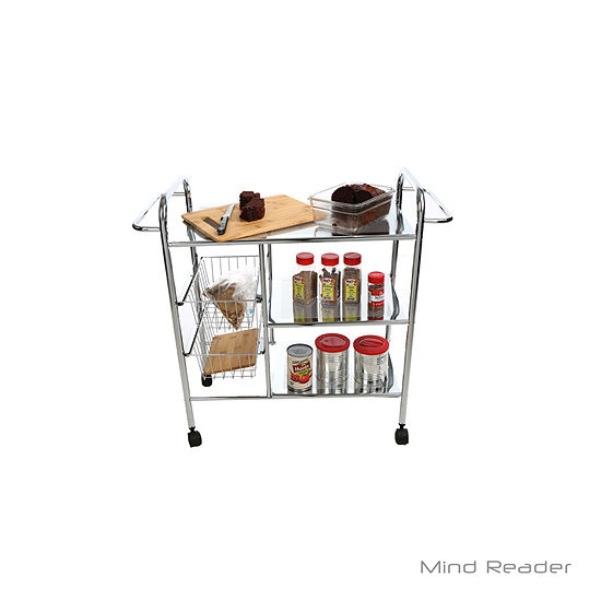 Mind Reader 3 Tier Metal Cart with 2 Wire Baskets
