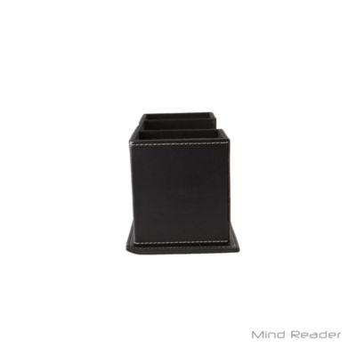 Mind Reader Faux Leather 4 Compartment Desk Organizer, Black