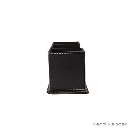 Mind Reader Faux Leather 4 Compartment Desk Organizer Black