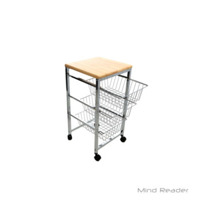 Mind Reader 3 Tier Wire Basket Cart with Wood Surface, Silver