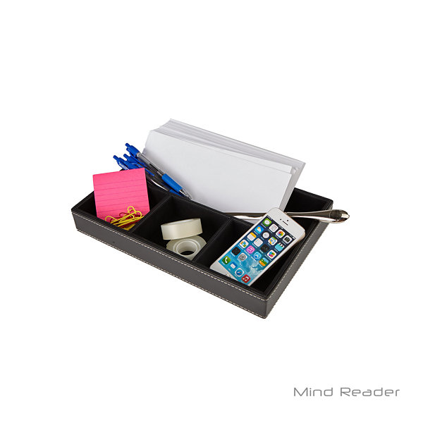Mind Reader Faux Leather 4 Compartment Tray Desk Organizer, Black