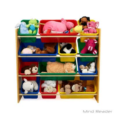 Mind Reader 4 Tier Wood Toy Organizer, Brown