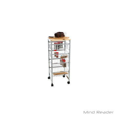 Mind Reader 4 Tier Wire Basket Cart with Wood Surface, Silver