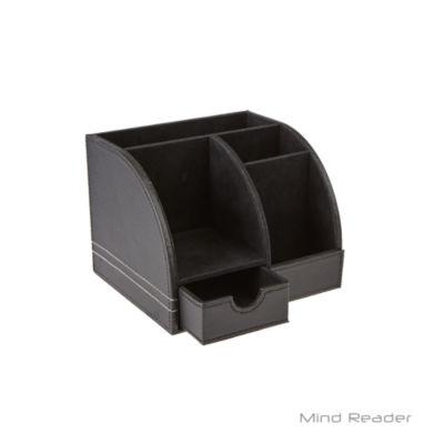 Mind Reader Faux Leather 5 Compartment Desk Organizer, Black