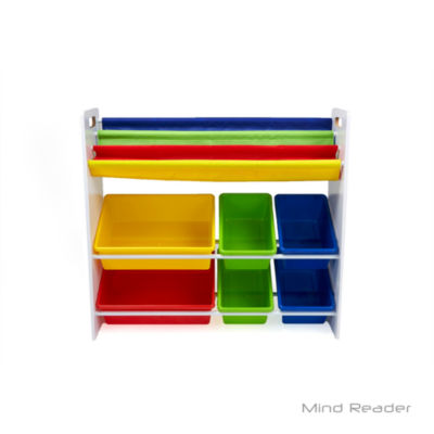 Mind Reader Fabric Sling Book Shelf and Toy Organizer, White