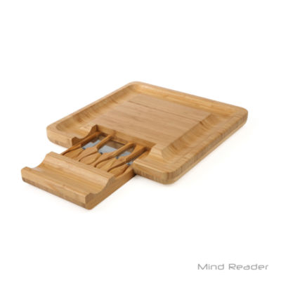 Mind Reader Bamboo Cheese and Snack Tray, Brown