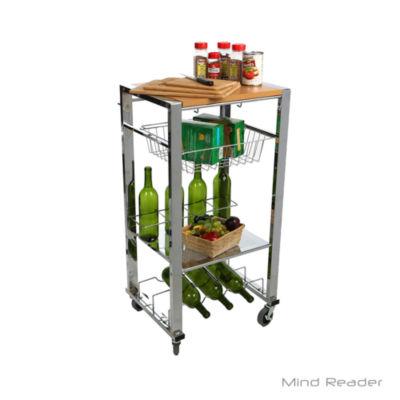 Mind Reader Chop Block Mobile Kitchen Cart, Silver