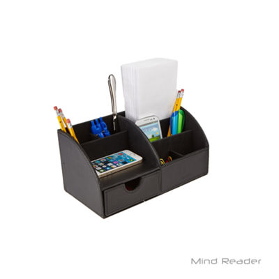 Mind Reader Faux Leather Curved Desk Organizer, Black