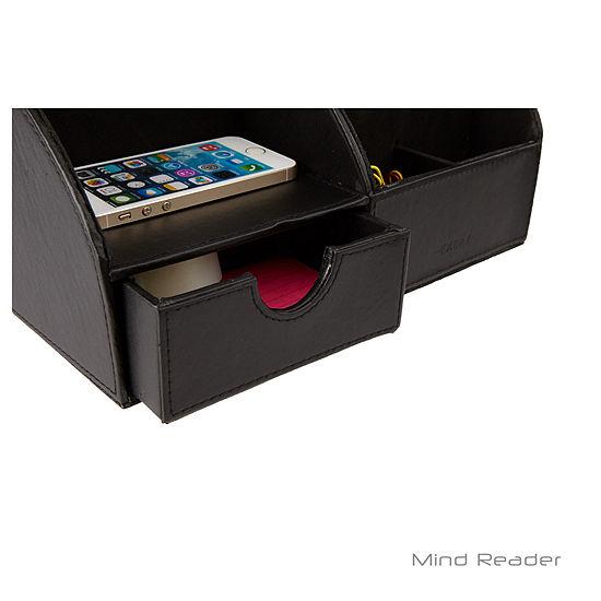 Mind Reader Faux Leather Curved Desk Organizer, Black
