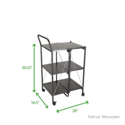 Mind Reader 3 tier Metal Shelf Foldable Cart, Black