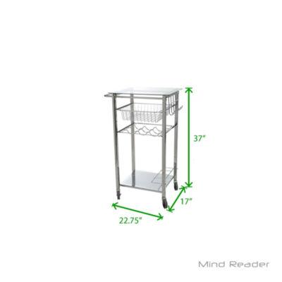 Mind Reader Glass Top Mobile Kitchen Cart, Silver