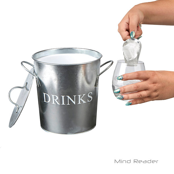 Mind Reader Metal Ice Bucket with Scooper, Silver