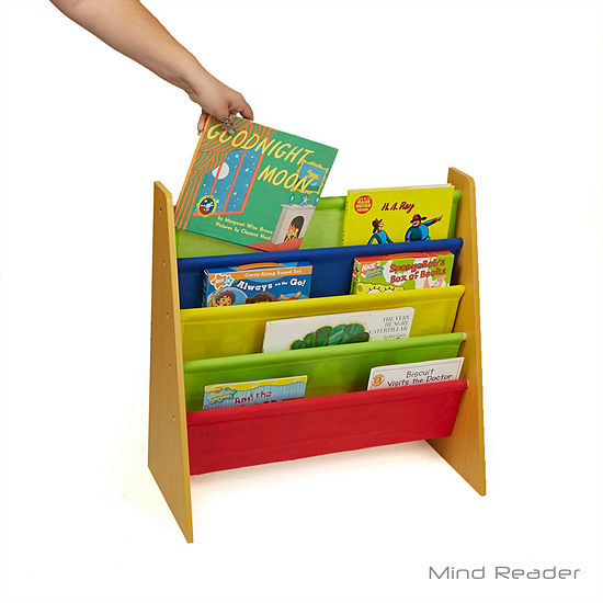 Mind Reader Fabric Sling Book Shelf, Brown