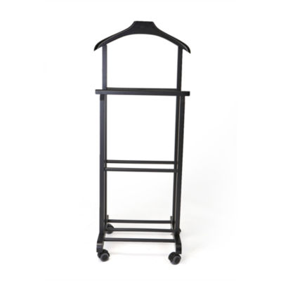 Mind Reader Wood Standing Valet Double Rack, Black