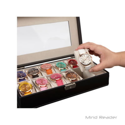 Mind Reader Double Row Watch Box Holder, Black