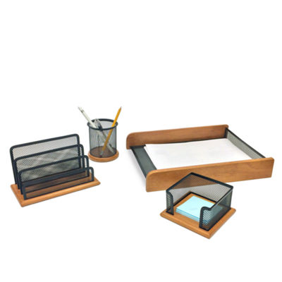 Mind Reader 4 Piece Wood Set Desk Organizer, Black