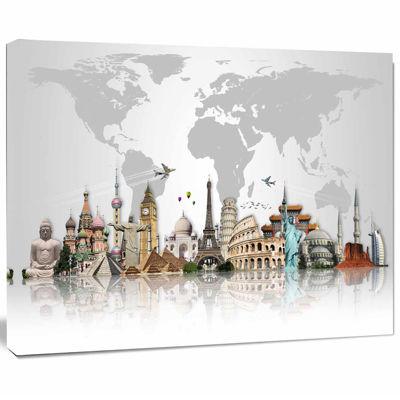 Design Art Famous Monuments Across World Canvas Art Print