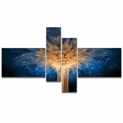 Designart Fractal 3D Blue Dragon Flower Abstract Canvas Art Print - 4 Panels