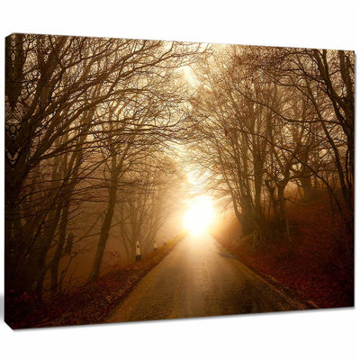 Designart Path To Sunlight In Autumn Forest Landscape Photography Canvas Print