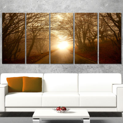 Design Art Path To Sunlight In Autumn Forest Landscape Photography Canvas Print - 5 Panels
