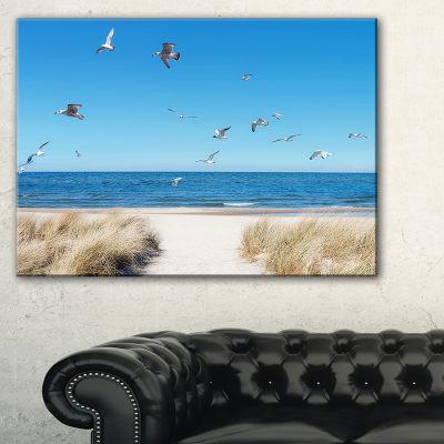 Design Art Beach With Seagulls In Rugen Island Seascape Canvas Art Print
