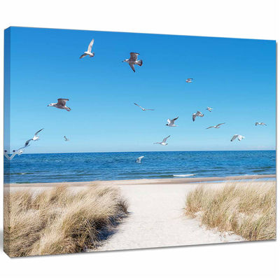 Designart Beach With Seagulls In Rugen Island Seascape Canvas Art Print