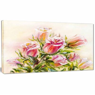 Designart Rose Oil Painting Floral Art Canvas Print