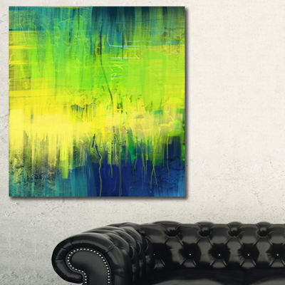 Designart Green Blue Fusion Abstract Canvas Art Print