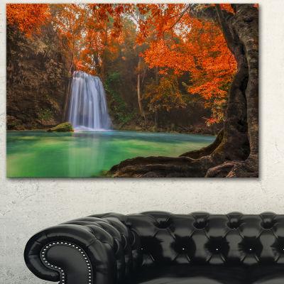 Design Art Erawan Waterfall Orange Photography Canvas Art Print