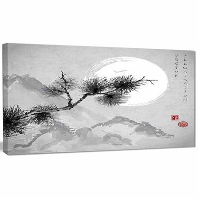 Designart Pine Tree Branch Japanese Canvas Art Print