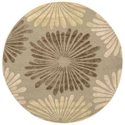Eastern Rugs Hand-tufted Transitional Floral Sunflower Round Rug